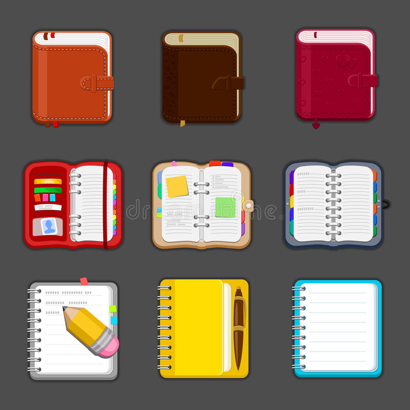Collection of various open and closed notebooks, diary, sketchpad, pocketbook. Set of different notepads and tablets. With notes and bookmarks. Vector icon vector illustration