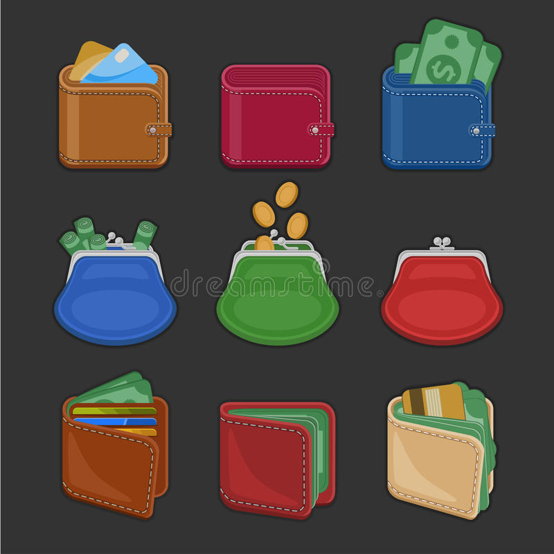 Collection of various open and closed purses and wallets with money, cash, gold coins, credit cards. Set of finance symbols vector illustration