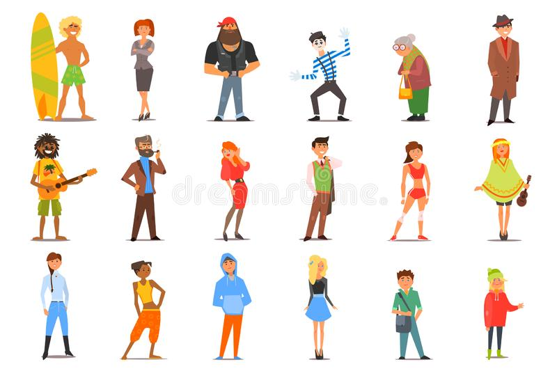 Flat vector set of various cartoon people characters with different lifestyles and interests. Young men and women, old royalty free illustration