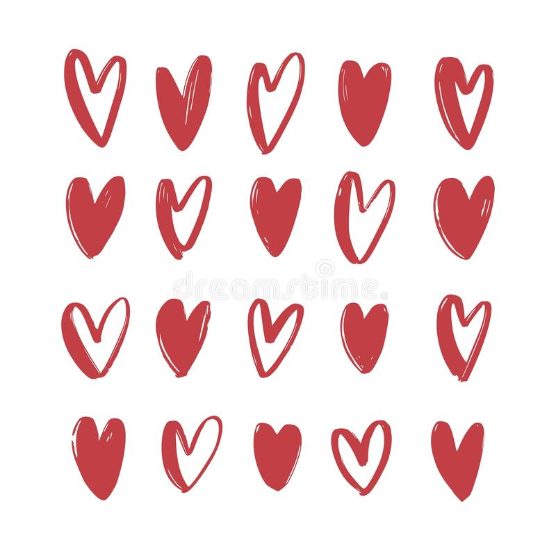 Collection of various red hand drawn hearts isolated on white background. Bundle of love, romance and passion symbols. For Valentine s day. Set of romantic stock illustration