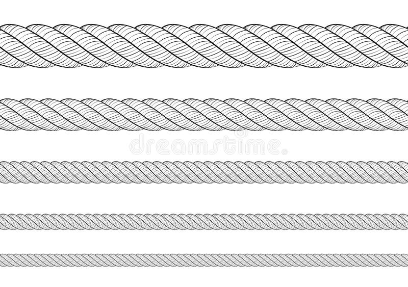 Collection of various ropes string on white background. each one is shot separately. Texture pattern seamless repeating white blac. K royalty free illustration
