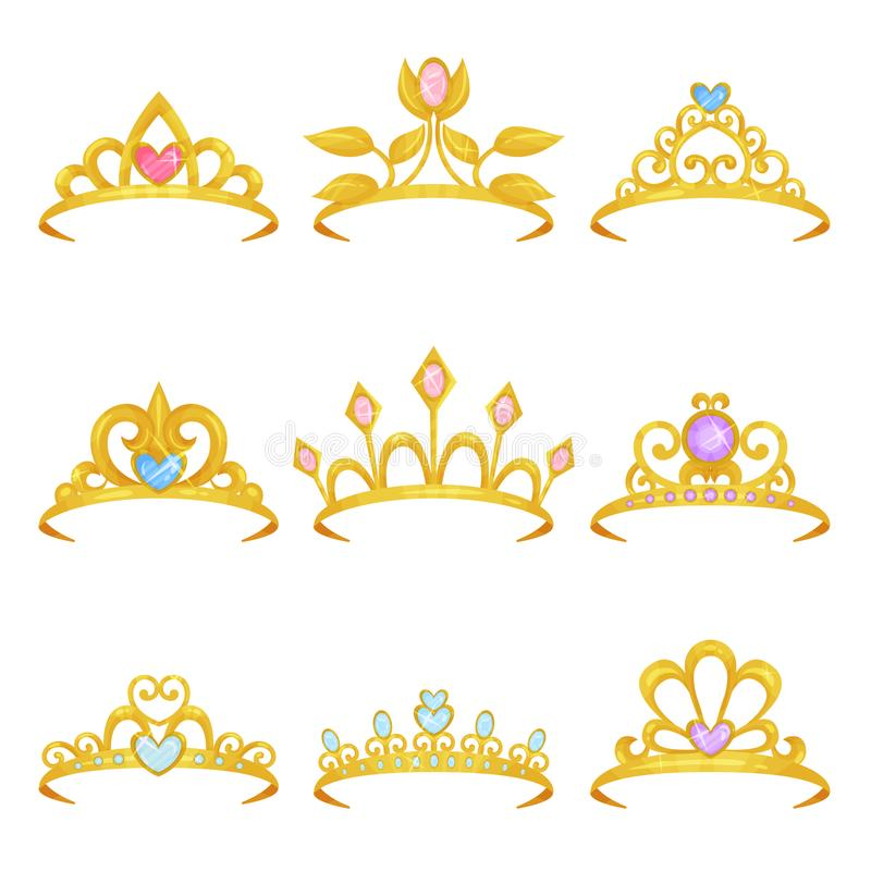 Collection of various royal crowns decorated with shiny gemstones. Golden princess tiara. Precious women s accessories royalty free illustration