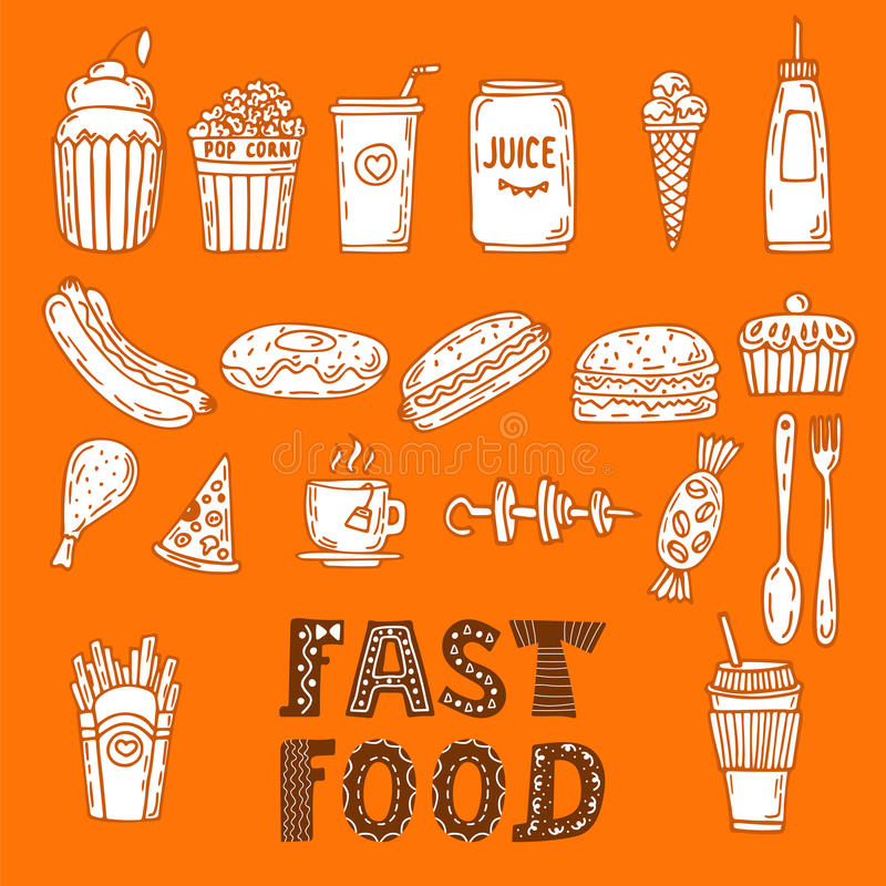 Collection of various sketches food and doodles elements. Hand d royalty free illustration