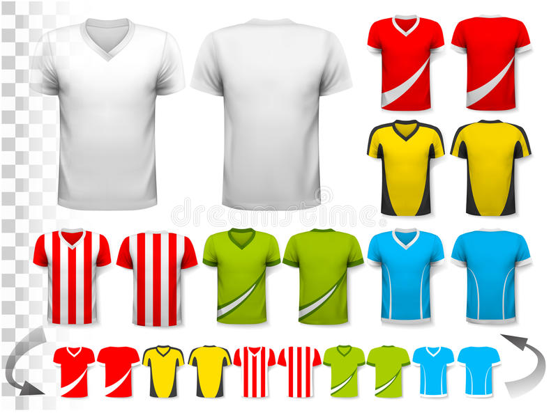 Collection of various soccer jerseys. T stock illustration
