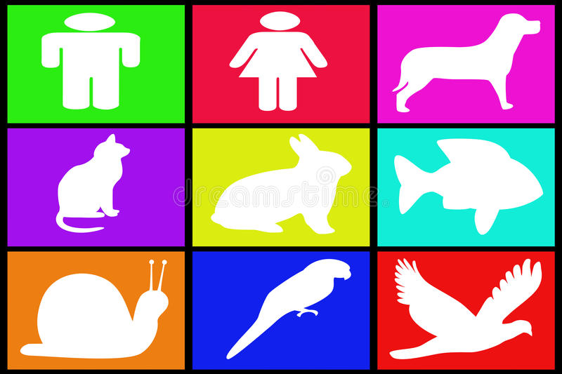 Collection of various symbols. On colored backgrounds royalty free illustration