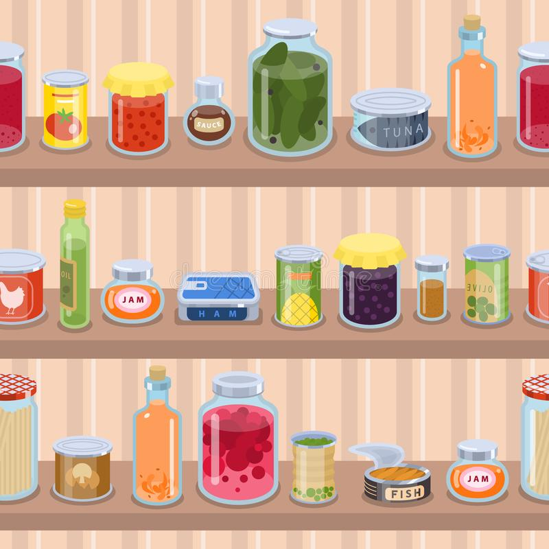 Collection of various tins canned goods food metal container product on shop shelf vector illustration. royalty free illustration