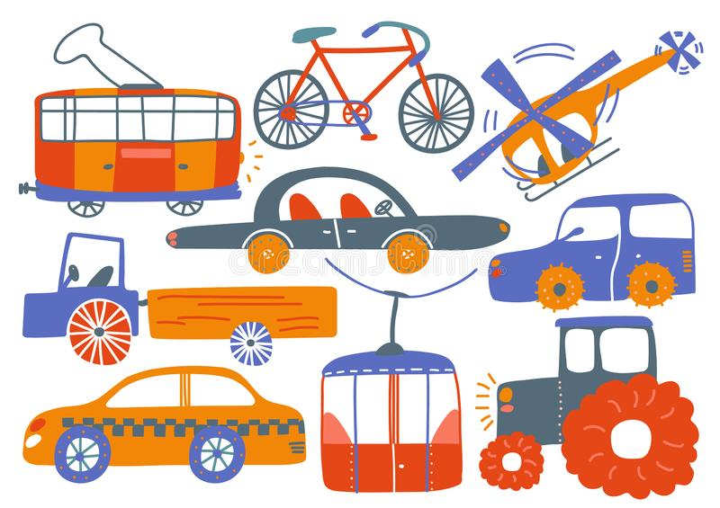 Collection of Various Transport Vehicles, Tram, Bike, Helicopter, Cable Car, Tractor, Truck, Cartoon Vector Illustration. On White Background stock illustration