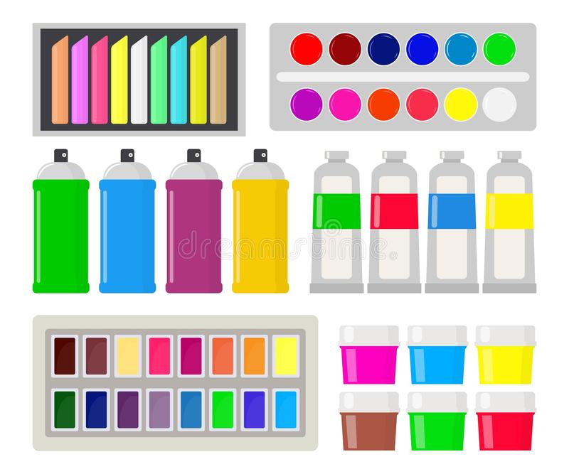 Collection of various types of paint: gouache, watercolor, oil paint, spray paint, chalk, pastel. Art supplies. Drawing creative royalty free illustration
