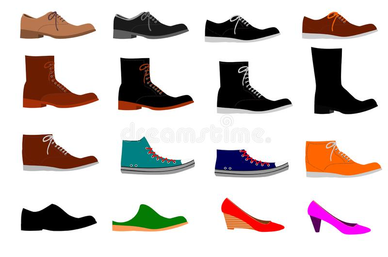 Collection of various types of shoes on white background stock illustration