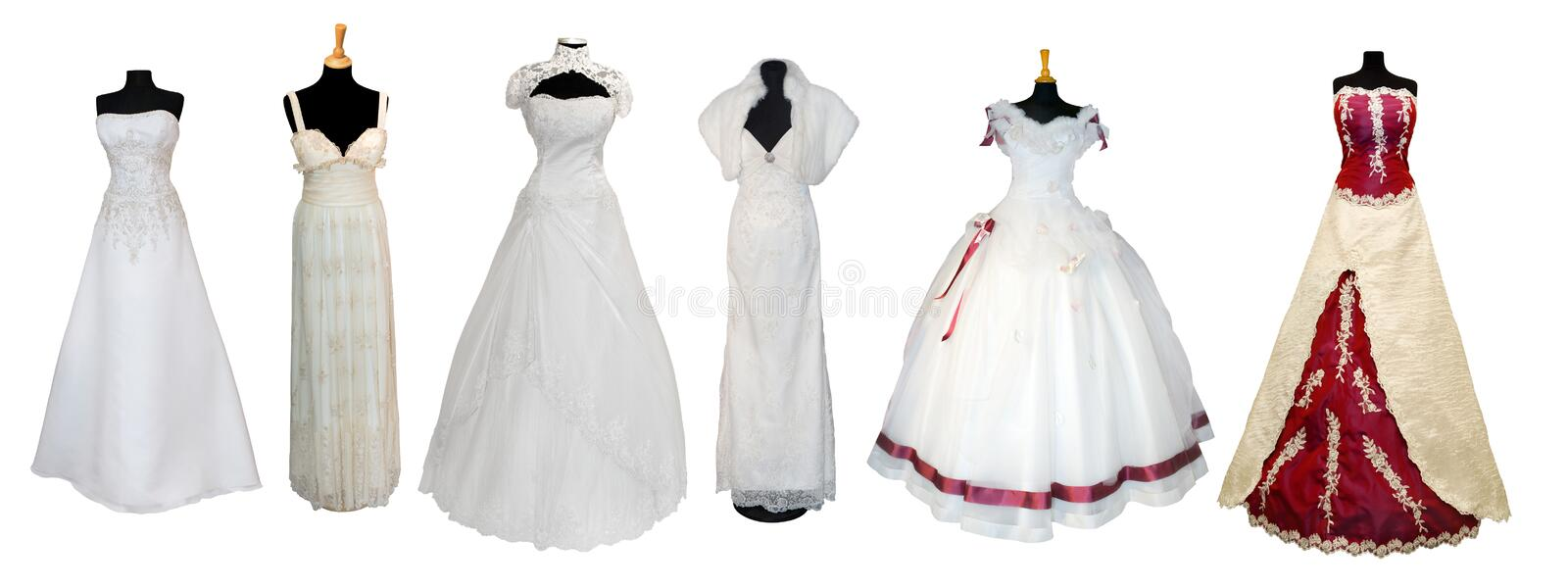 Collection of various types of wedding dresses. Isolated on white royalty free stock photo
