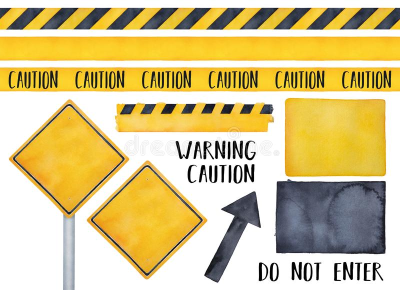 Collection of various warning signs, seamless caution tapes, text messages and attension symbols. Bright yellow and dark black colors. Handdrawn watercolour on royalty free illustration