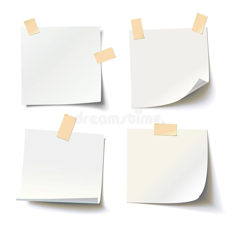 Collection of various white note papers with curled corner and adhesive tape. Ready for your message. Vector illustration. Isolated on white background. Front stock illustration