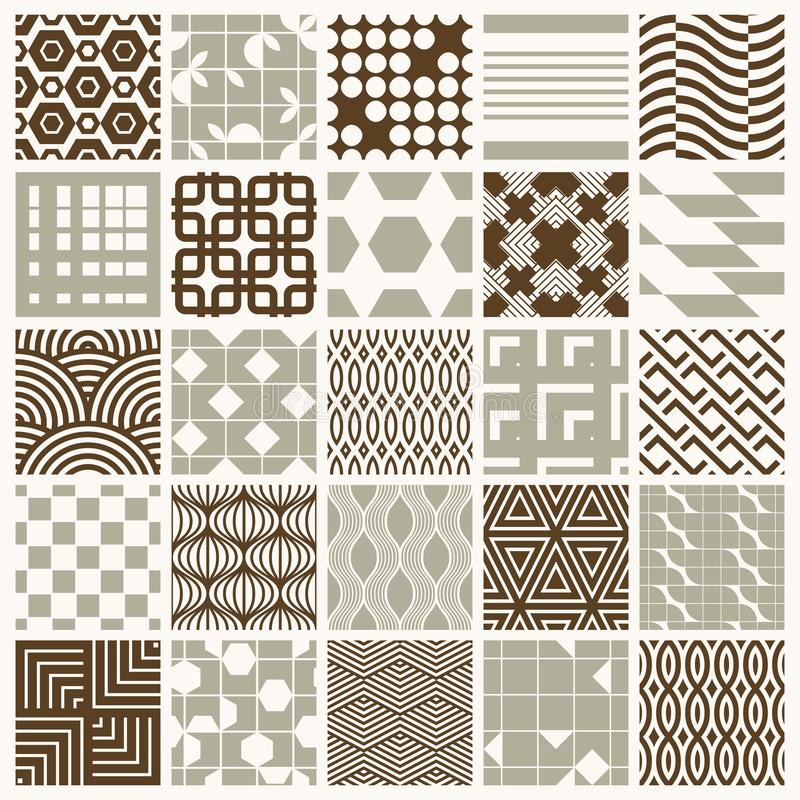 Collection of vector abstract seamless compositions best for use as wrapping papers, symmetric ornate backgrounds created with stock illustration