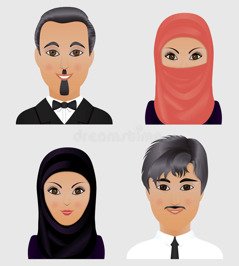 Collection of vector avatars Muslim men and women. Faces of Arab stock illustration