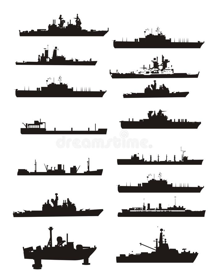 Collection vector boat and ship outlines vector illustration