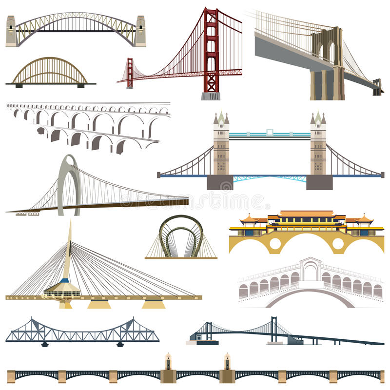 Collection of vector bridges royalty free illustration