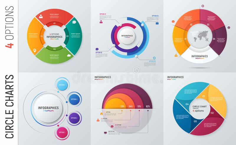 Collection of vector circle chart infographic templates for pres vector illustration