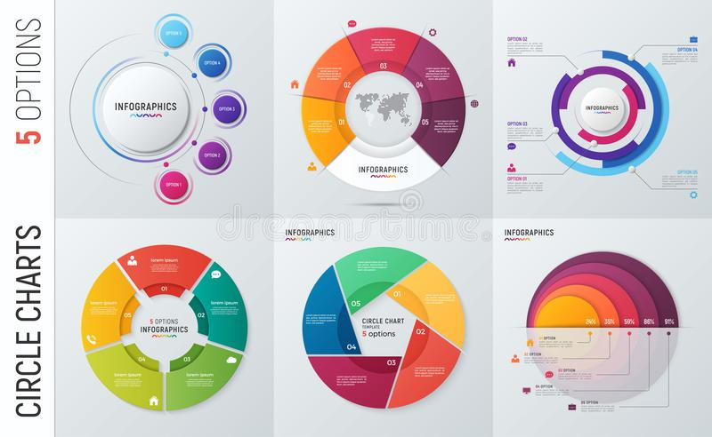 Collection of vector circle chart infographic templates for pres. Entations, advertising, layouts, annual reports. 5 options, steps, parts vector illustration
