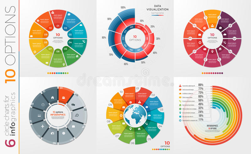 Collection of 6 vector circle chart templates 10 options. vector illustration