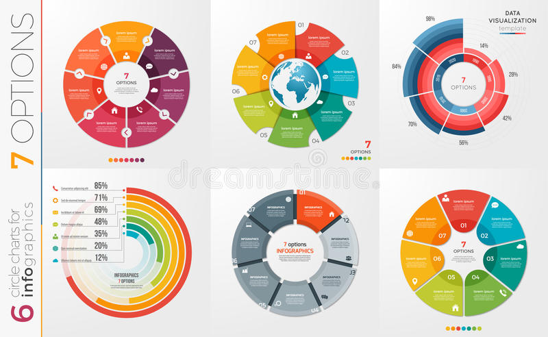 Collection of 6 vector circle chart templates 7 options. royalty free illustration