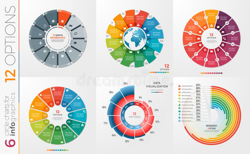Collection of 6 vector circle chart templates 12 options. royalty free illustration