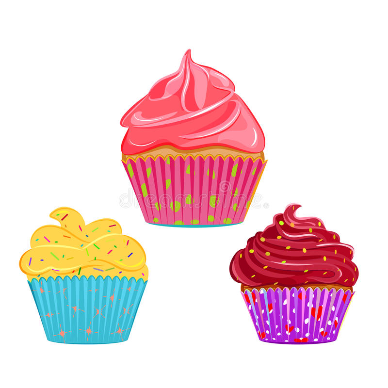 Collection of vector cupcakes, muffins. Set of vector cupcakes, muffins with different toppings and cases. Cream topping with sprinkles cupcake collection royalty free illustration