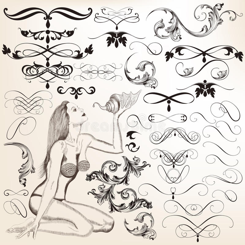 Collection of vector decorative flourishes for design. Vector set of calligraphic elements for design. Calligraphic vector stock illustration