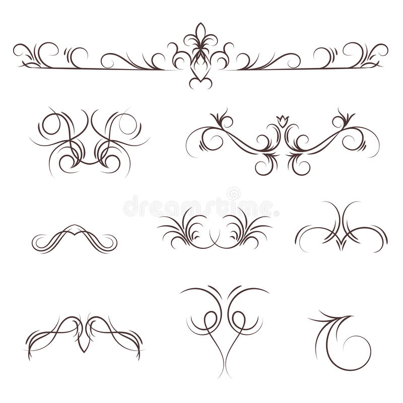 A collection of vector decorative monograms and a calligraphic borders. vector illustration