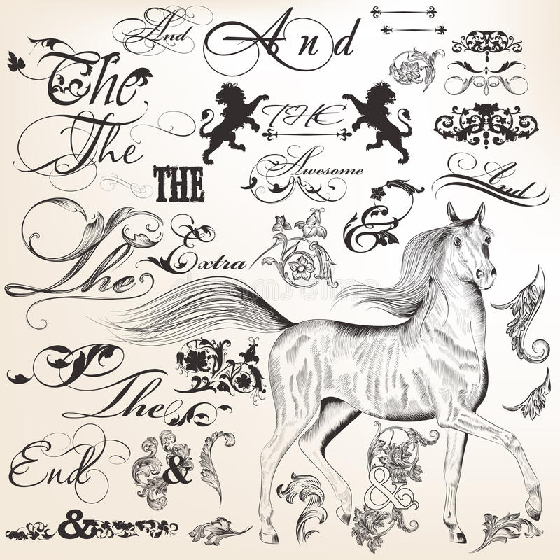 Download Collection Of Vector Decorative Vintage Elements For Design Stock Vector - Illustration of curves, horse: 39506377
