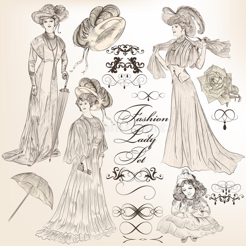 Collection Of Vector Detailed Fashion Lady In Old-fashioned Vin ...