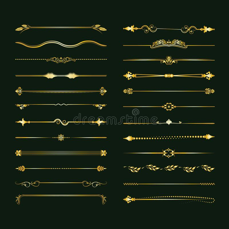 Collection of vector dividers. Can be used for design, letters, jewelry, gifts, notebooks. Vector illustration royalty free illustration