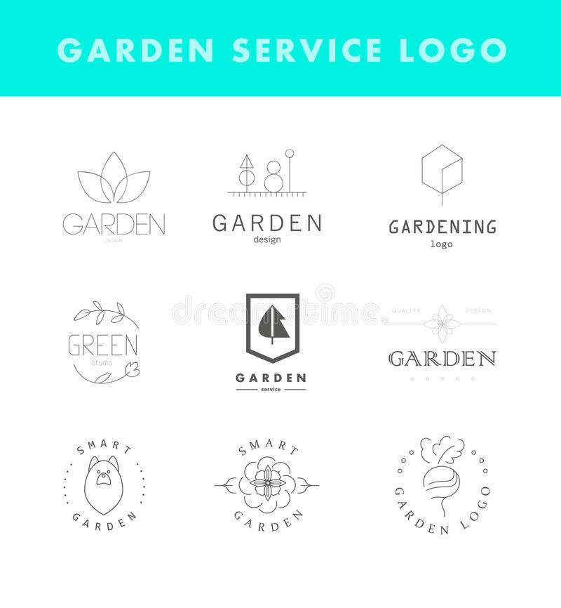 Collection of vector flat elegant logo template for gardening companies. stock illustration
