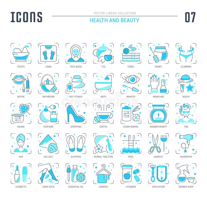 Set Blue Line Icons of Health and Beauty. vector illustration