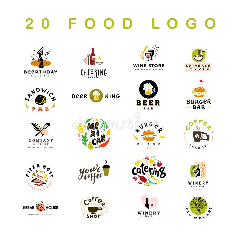 Collection of 20 vector flat meal, fast food, coffee and alcohol logo and icons set isolated on white background. royalty free illustration