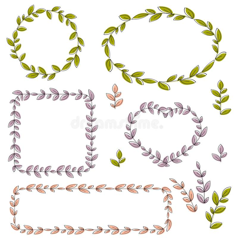Collection of vector floral frames and design elements royalty free illustration