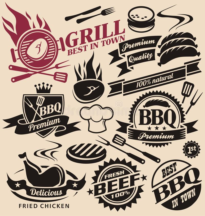 Collection of vector grill signs, symbols, labels and icons vector illustration