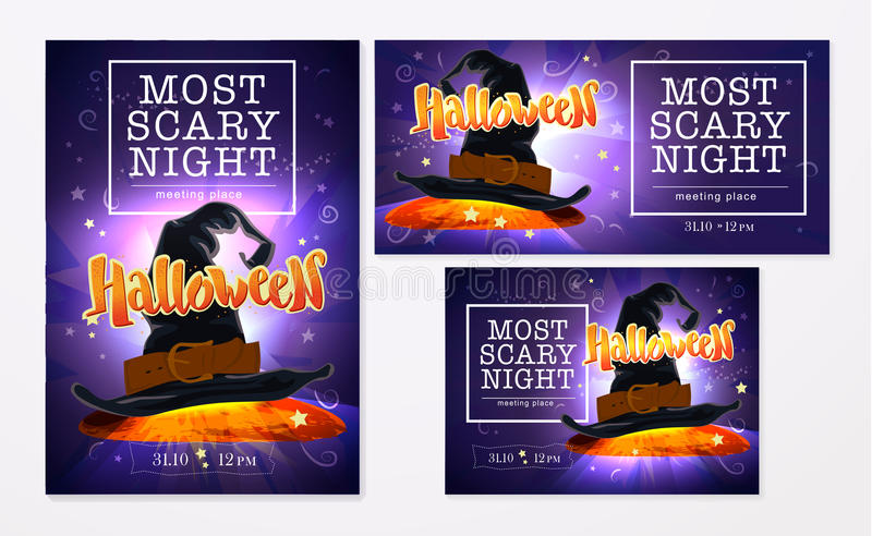 Collection of vector halloween cards. stock illustration