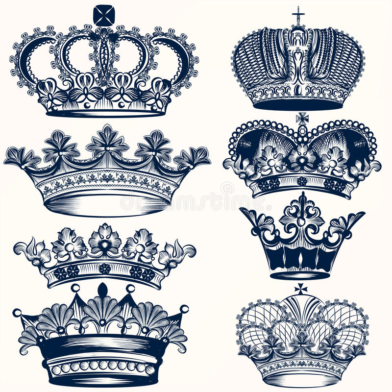 Collection of vector hand drawn crowns in vintage style stock illustration