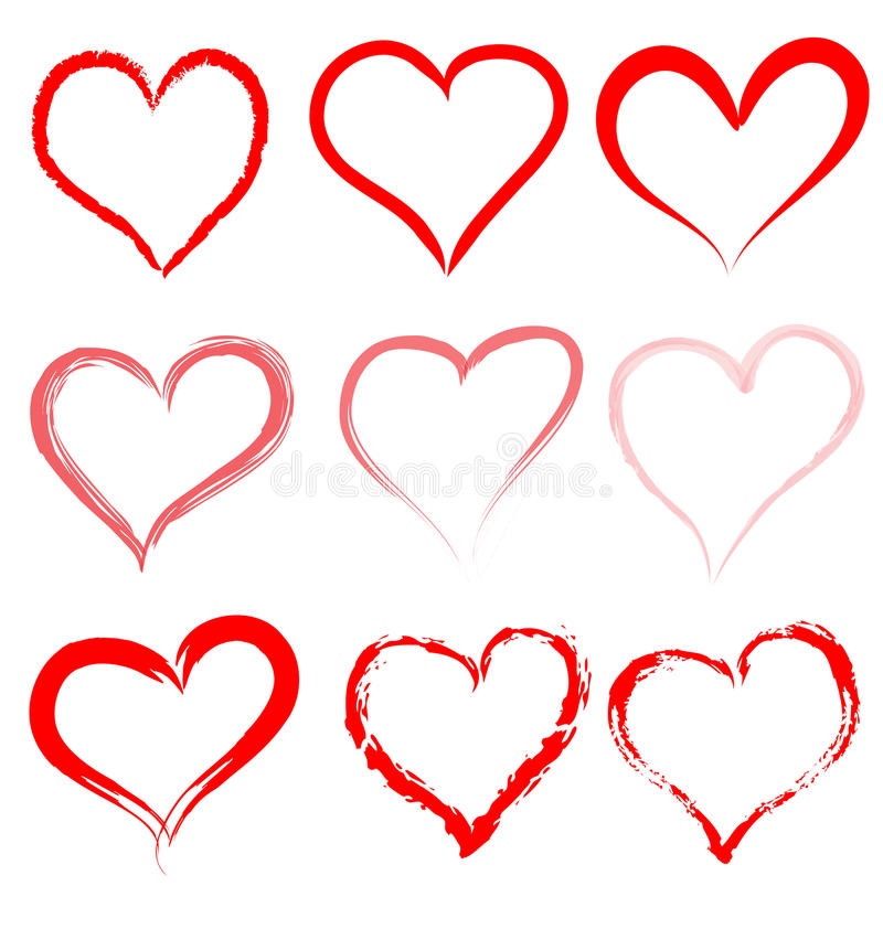 Heart love vector set Valentine day hearts Valentines icon design shape symbol hand drawn isolated romantic red background art. Hearts vectors love valentines vector illustration