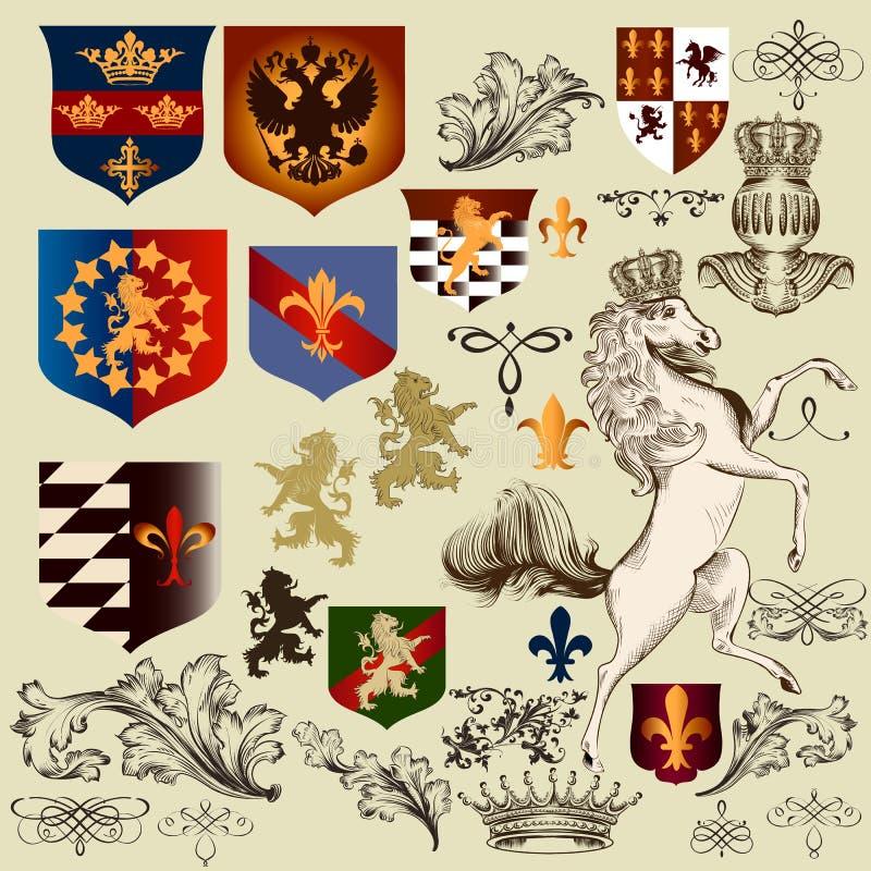 Collection of vector heraldic decorative elements fleur de lis, vector illustration