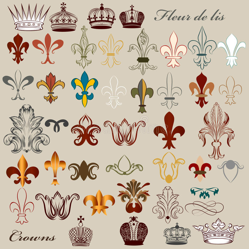 Download Collection Of Vector Heraldic Fleur De Lis And Crowns Stock Vector - Illustration of crest, decor: 32285731