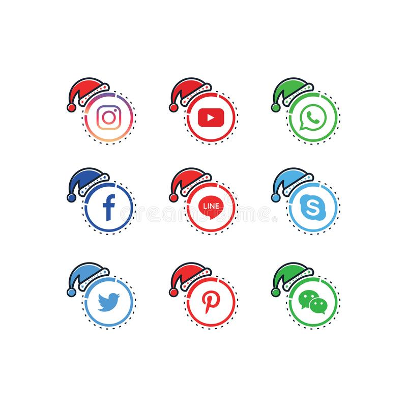 Collection of vector icons for social media icons, popular Christmas and New Year themes vector illustration