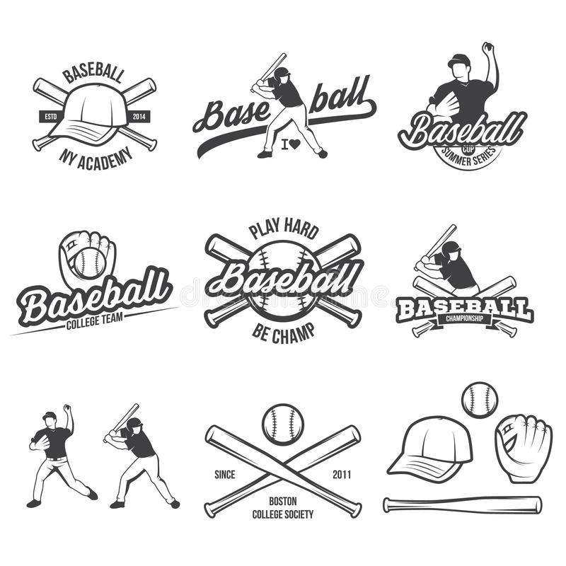 Collection of Vector Baseball logo and insignias, presented with a set of baseball equipment illustrations. Collection of vector illustrations of Baseball team royalty free illustration