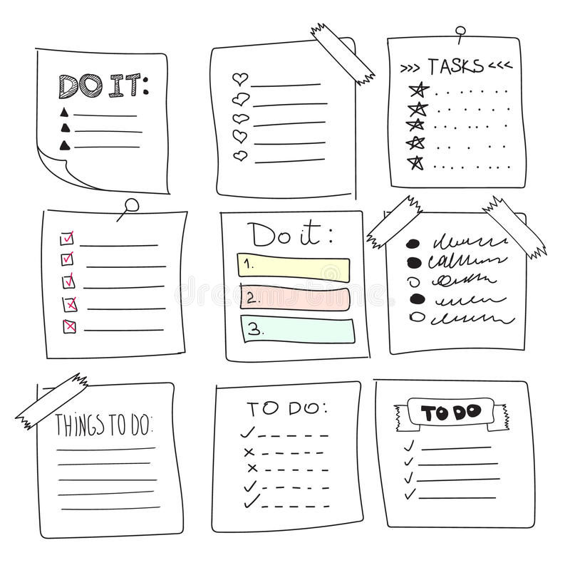 Collection of vector isolated outline hand drawn check to do list, bullet, check stock illustration