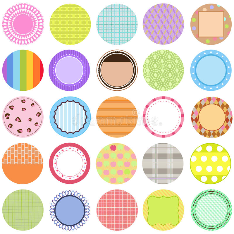 Collection of Vector Labels in pastel color royalty free illustration