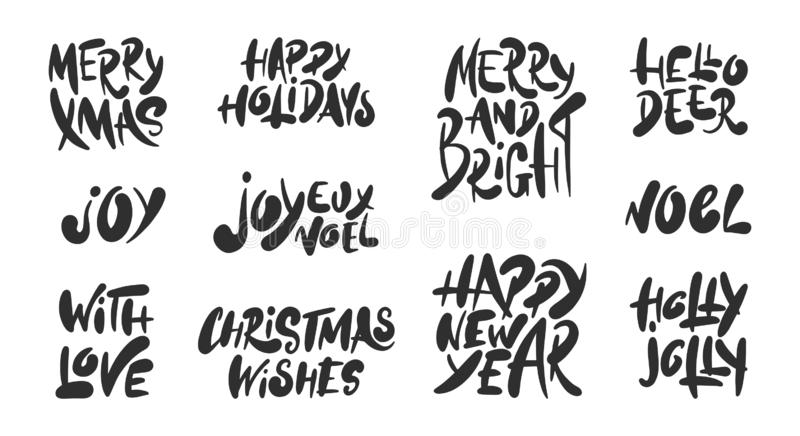 Collection of vector lettering for posters, decoration, cards royalty free illustration