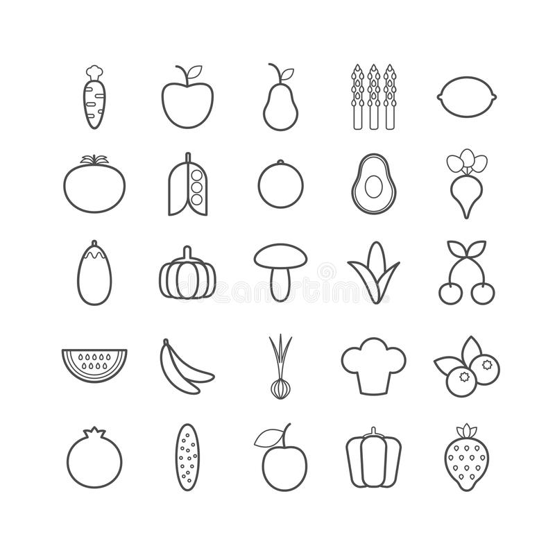 Set of vector line fruits and vegetables icons for web design vector illustration