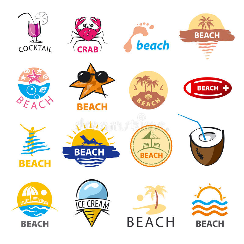 Collection of vector logos beach, palm trees, sea vector illustration