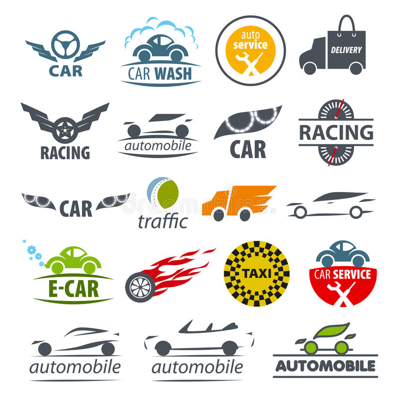 Collection of vector logos Car stock illustration