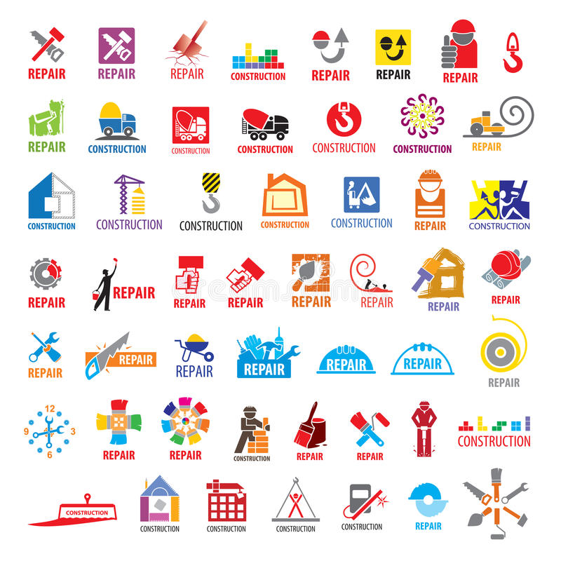 Collection of vector logos construction and repair stock illustration